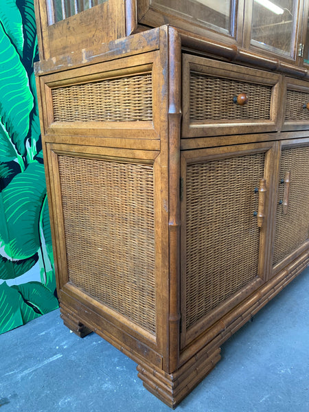 Faux Bamboo and Rattan China Cabinet by American of Martinsville detail view