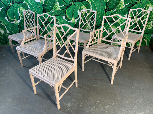 Chinese Chippendale Faux Bamboo Dining Chairs front view