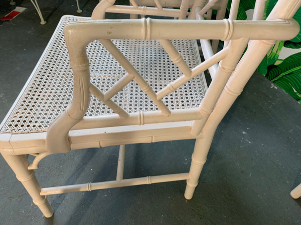 Chinese Chippendale Faux Bamboo Dining Chairs close up