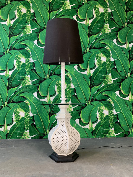 Reticulated Ceramic Floor Lamp Table by Nardini front view
