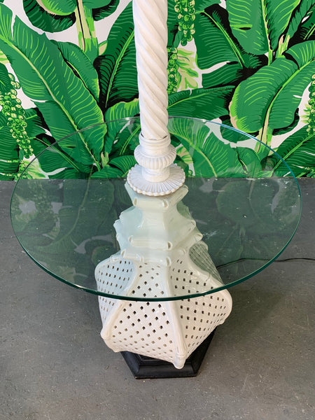 Reticulated Ceramic Floor Lamp Table by Nardini top view