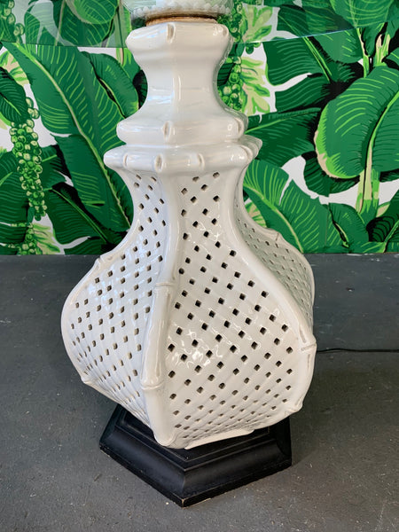 Reticulated Ceramic Floor Lamp Table by Nardini close up