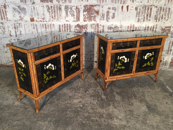 Pair of Vintage Asian Bamboo Cabinets