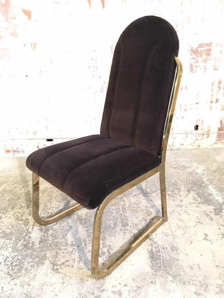 Set of Six Hollywood Regency Velvet and Brass Dining Chairs front view