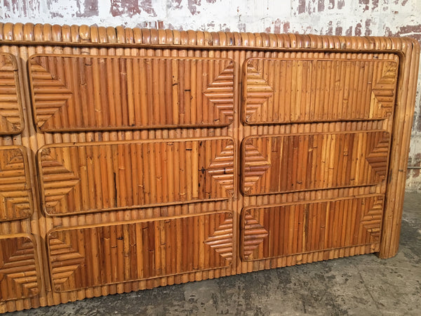 Mid Century Tropical Split Reed Stacked Rattan Dresser