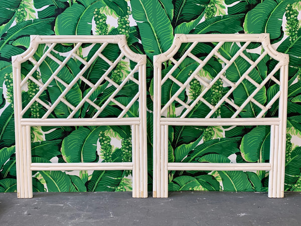 Pair of Rattan Chinese Chippendale Twin Headboards front view