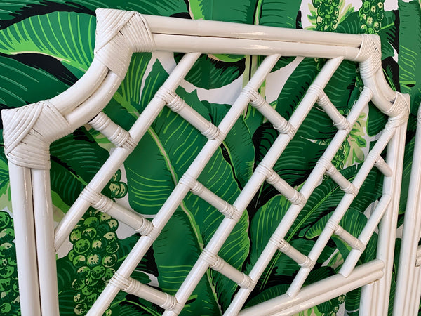 Pair of Rattan Chinese Chippendale Twin Headboards close up