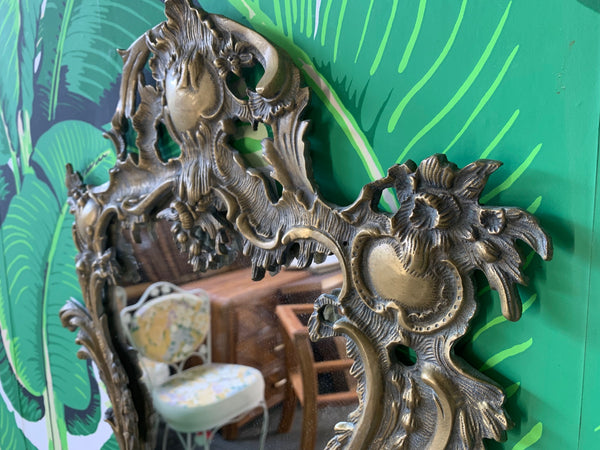 Gilt Brass Ormolu Rococo Style Wall Mirror close up