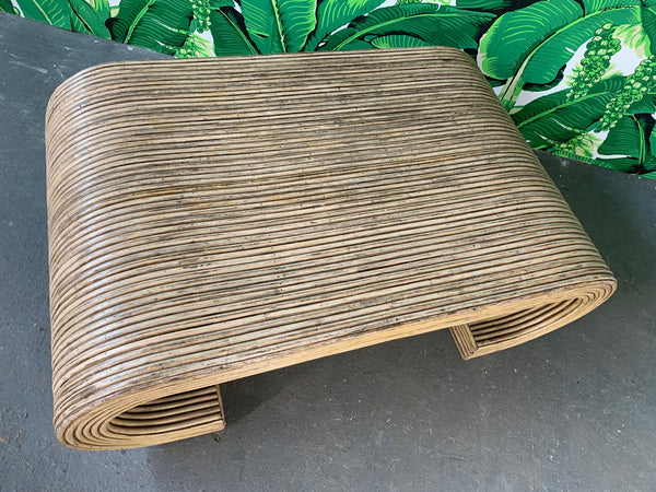 Split Reed Rattan Wrapped Scroll Coffee Table in the Style of Crespi close up