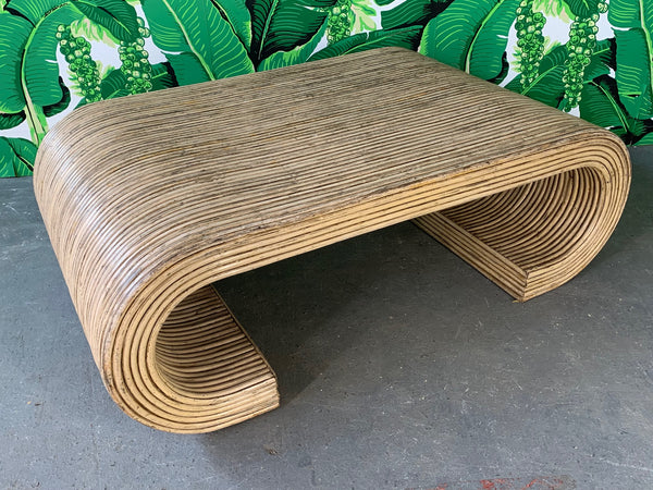 Split Reed Rattan Wrapped Scroll Coffee Table in the Style of Crespi top view