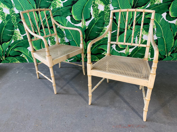 Pair of Faux Bamboo Cane Seat Arm Chairs front view
