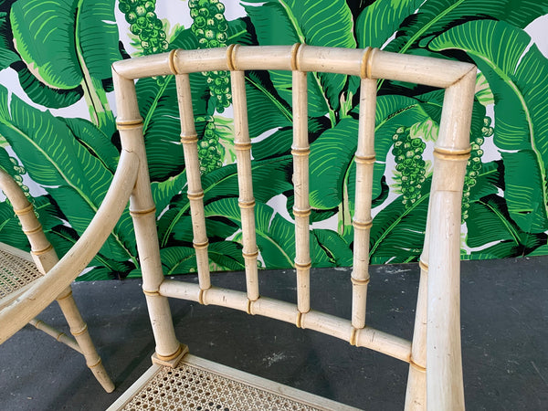 Pair of Faux Bamboo Cane Seat Arm Chairs close up