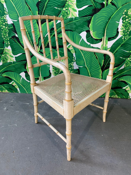 Pair of Faux Bamboo Cane Seat Arm Chairs side view