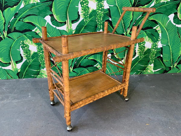 Collapsible Tiger Bamboo Bar Cart front view
