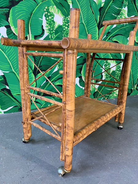 Collapsible Tiger Bamboo Bar Cart side view