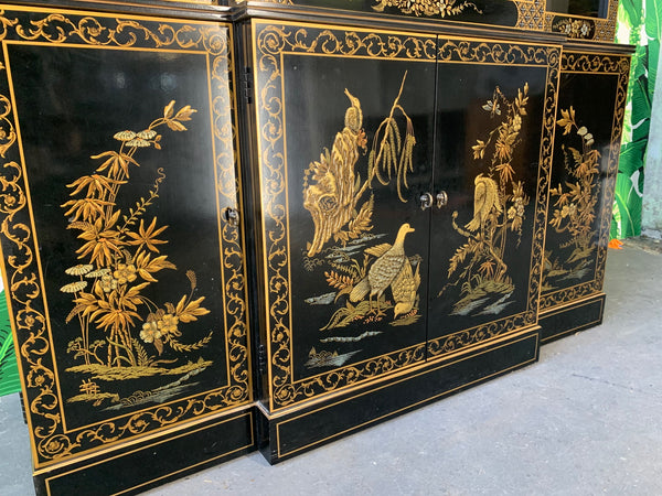 Asian Chinoiserie China Cabinet by Drexel close up