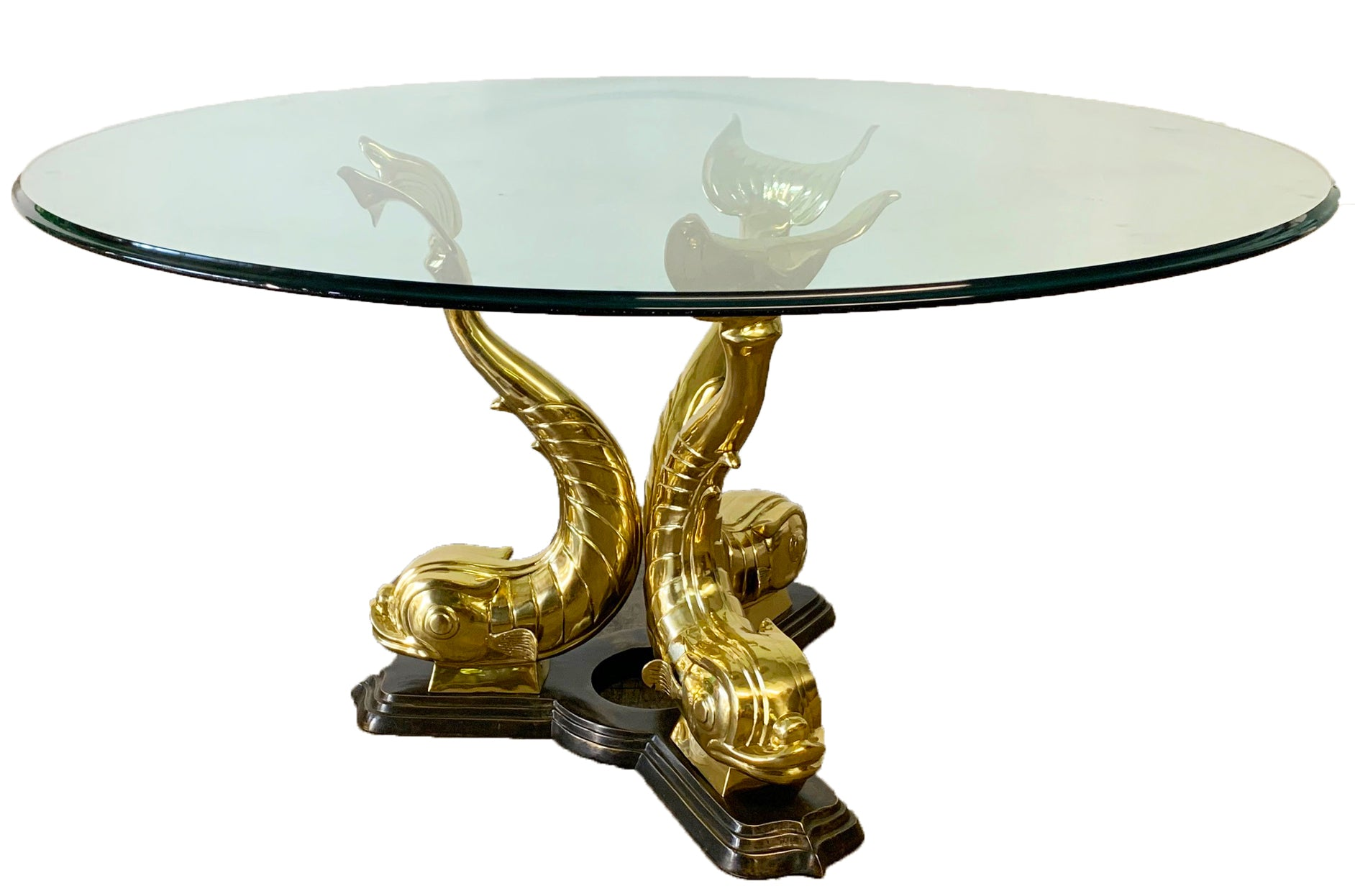 Monumental Brass Asian Dolphin Pedestal Dining Table