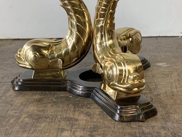 Monumental Brass Asian Dolphin Pedestal Dining Table close up