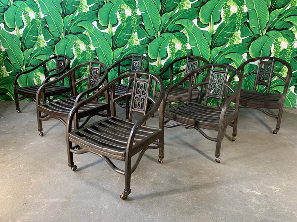 Set of Seven Asian Chinoiserie Game Table Chairs front view