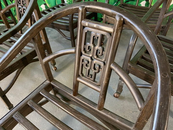 Set of Seven Asian Chinoiserie Game Table Chairs close up