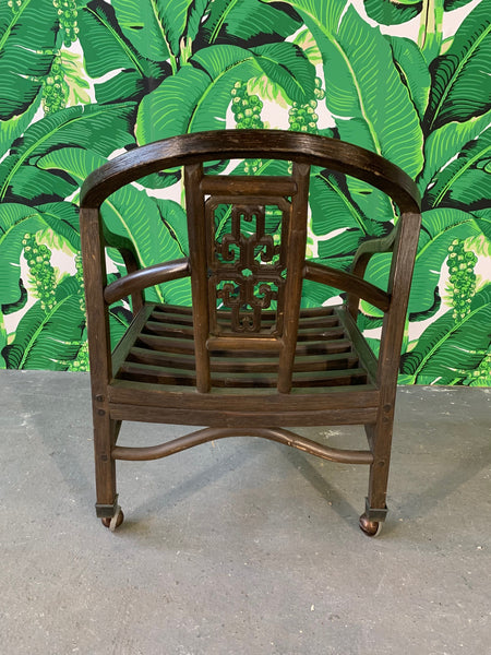 Set of Seven Asian Chinoiserie Game Table Chairs rear view