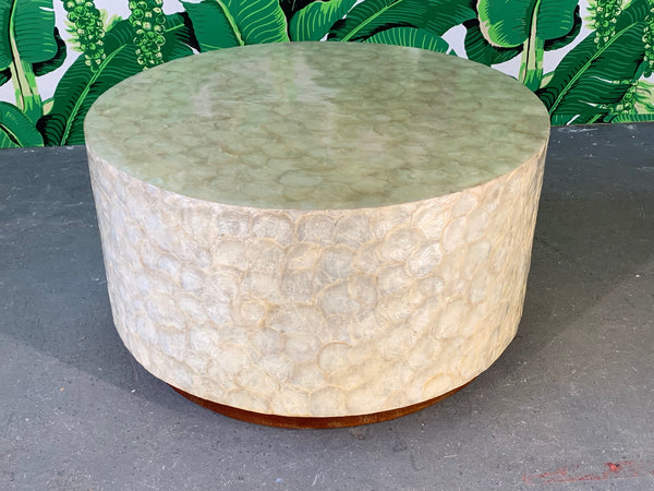 Capiz Shell Round Coffee Table front view