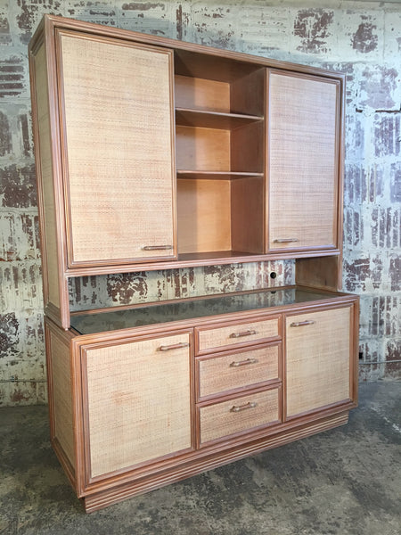 Rattan and Faux Bamboo China Buffet Cabinet With Hutch front view