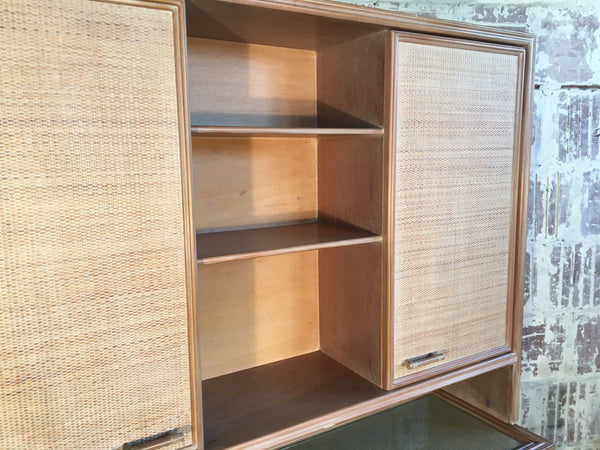 Rattan and Faux Bamboo China Buffet Cabinet With Hutch close up