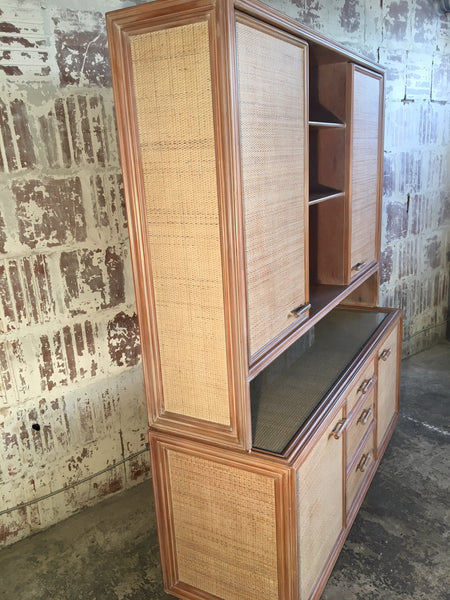 Rattan and Faux Bamboo China Buffet Cabinet With Hutch side view