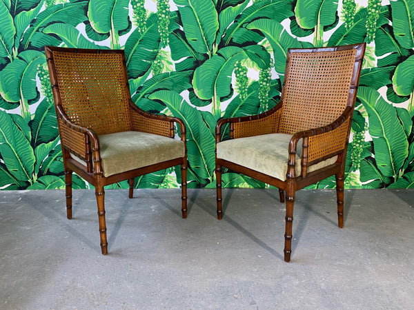 Pair of Cane Back Faux Bamboo Arm Chairs by Palecek front view