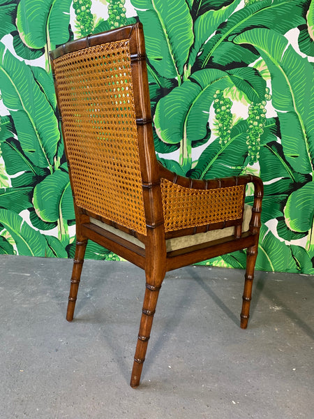 Pair of Cane Back Faux Bamboo Arm Chairs by Palecek rear view