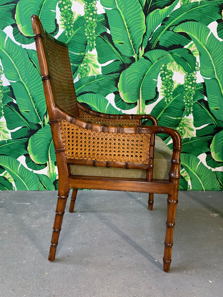 Pair of Cane Back Faux Bamboo Arm Chairs by Palecek side view