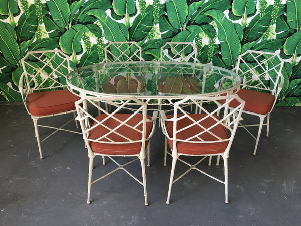 Brown Jordan Calcutta Metal Faux Bamboo Dining Table and Chairs