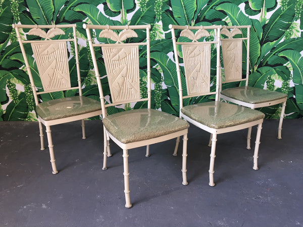 Metal Faux Bamboo Palm Tree Chairs