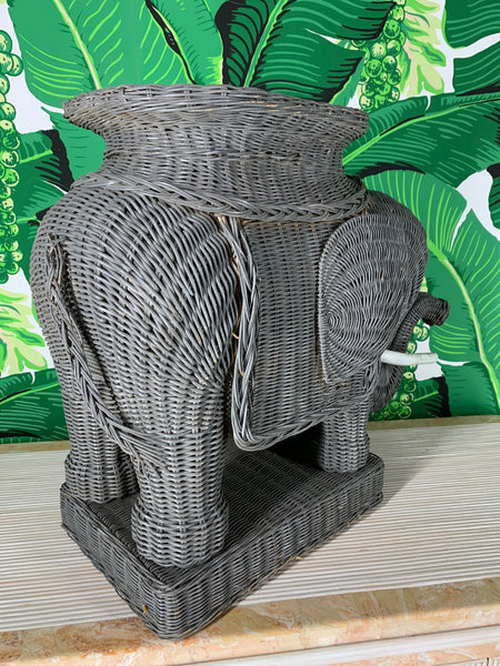 Wicker Elephant Garden Stool