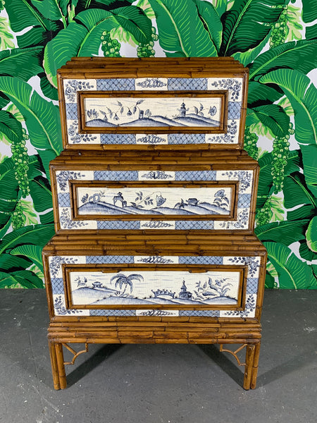 Stacked Rattan Asian Chinoiserie Dresser