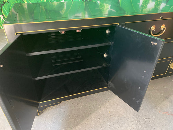 Black and Gold Heavy Brass Embellished Credenza