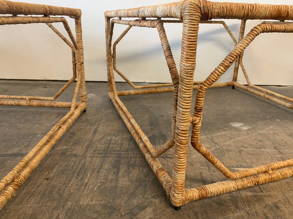 Rattan Wrapped Iron End Tables