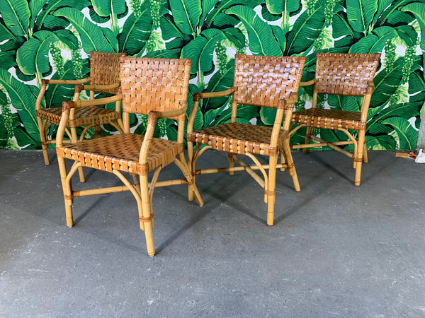 Bamboo and Leather Dining Chairs by McGuire, Set of 4