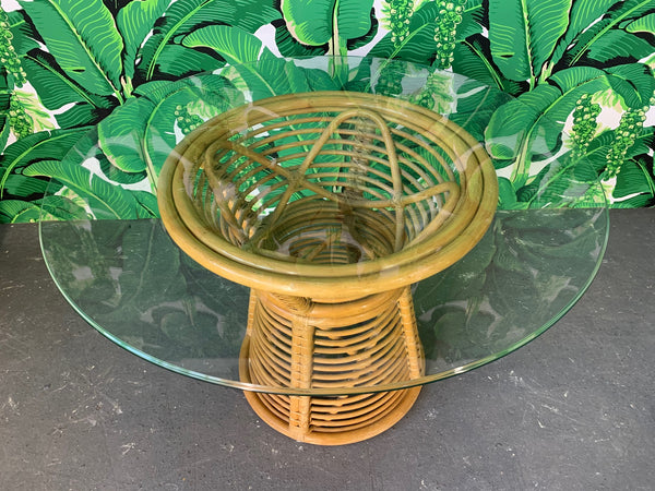 Horizontal Rattan Albini Style Pedestal Dining Table