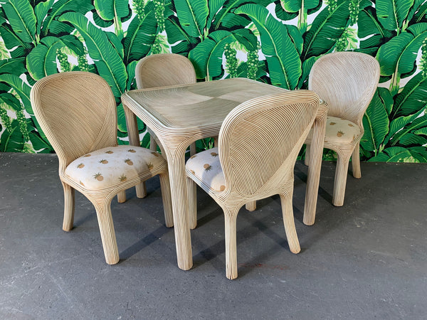 Split Reed Rattan Dining Table and 4 Chairs Set