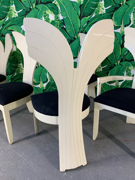 Sculptural Fish Tail Back Dining Chairs in the Manner of Ello, Set of 6