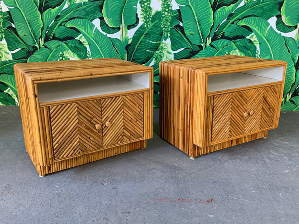 Pair of Split Reed Rattan Nightstands in the Manner of Gabriella Crespi