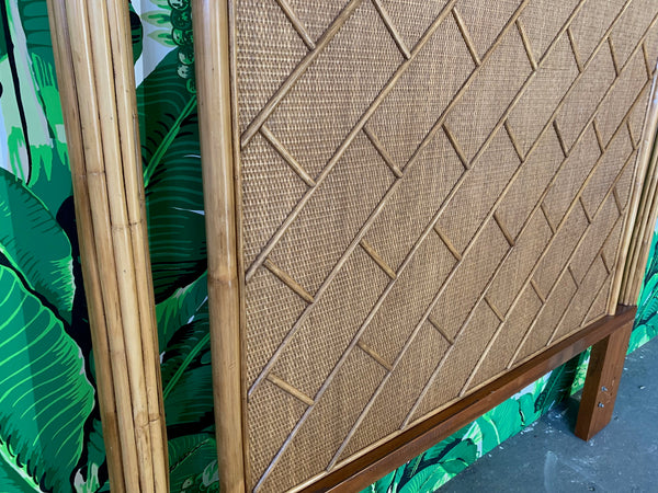 Rattan Chinoiserie Queen Size Headboard