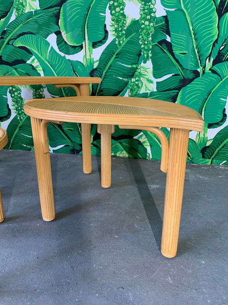 Vintage Pencil Reed Rattan Leaf Shaped Nesting Tables