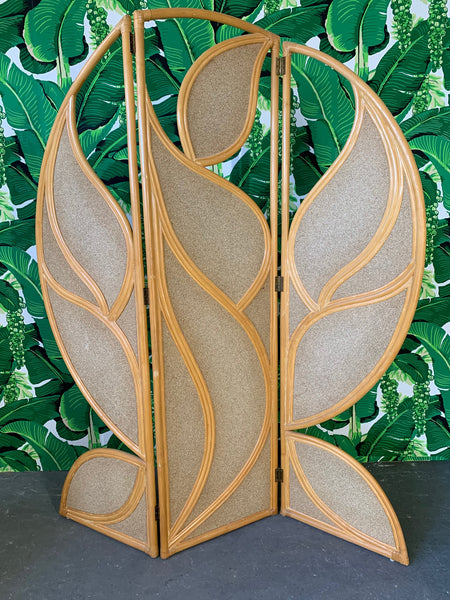 Tropical Rattan Room Divider Folding Screen