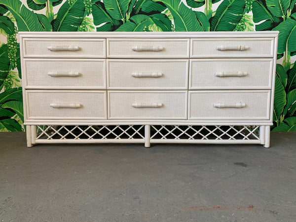 White Rattan Chinoiserie Skirted Dresser
