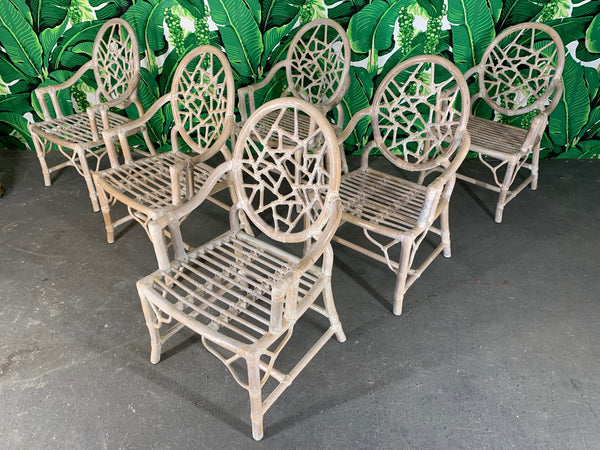 Rattan Cracked Ice Dining Chairs in the Manner of McGuire front view