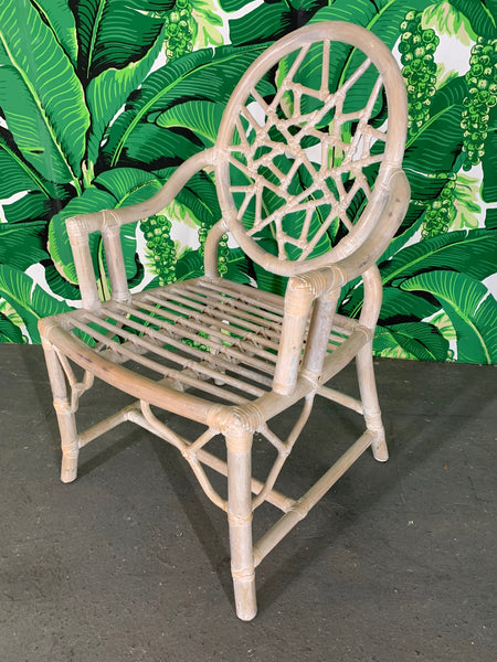 Rattan Cracked Ice Dining Chairs in the Manner of McGuire close up