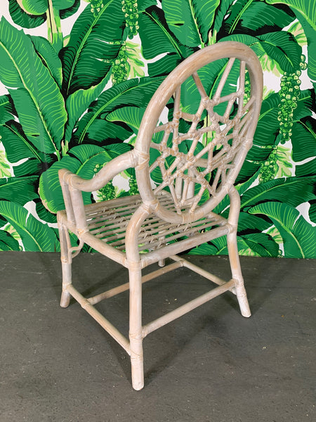 Rattan Cracked Ice Dining Chairs in the Manner of McGuire rear view